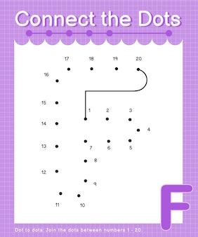 Alfabeto f conecte os pontos contando os jogos ponto a ponto para crianças