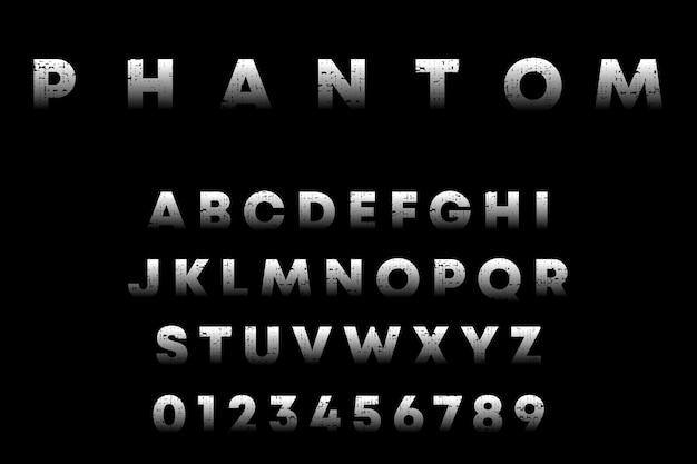 Alfabeto fantasma, letras e números com textura grunge