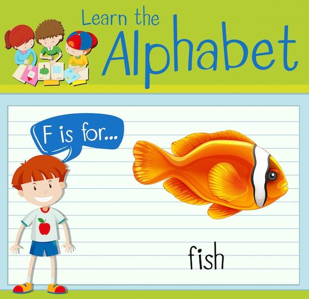 Alfabeto flashcard f é para peixe