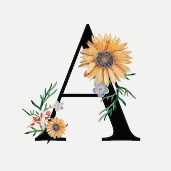 Alfabeto floral a tipografia vetorial