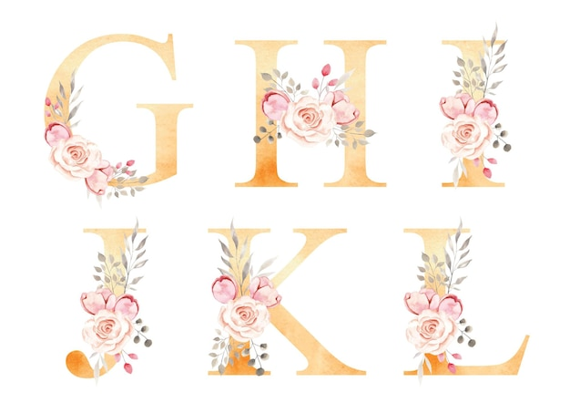 Alfabeto floral aquarela