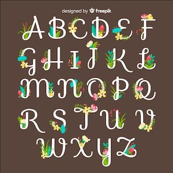 Alfabeto floral colorido