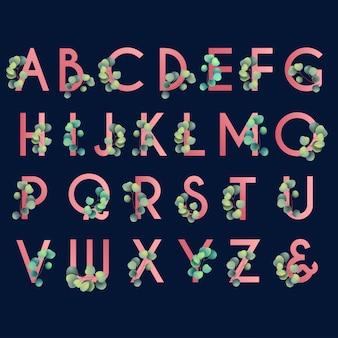 Alfabeto floral com eucalipto para monograma de casamento