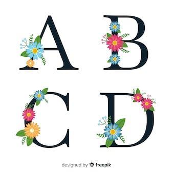 Alfabeto floral desenhado de mão