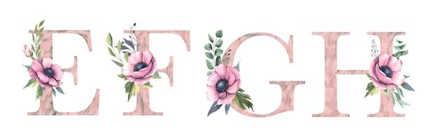 Alfabeto floral e, f, g, h