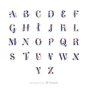 Alfabeto floral plana