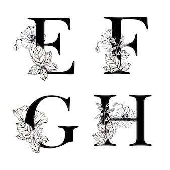 Alfabeto floral preto e branco aquarela letra efgh