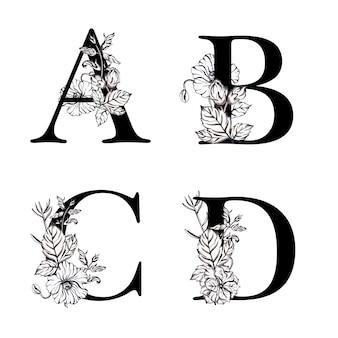 Alfabeto floral preto e branco em aquarela letra abcd
