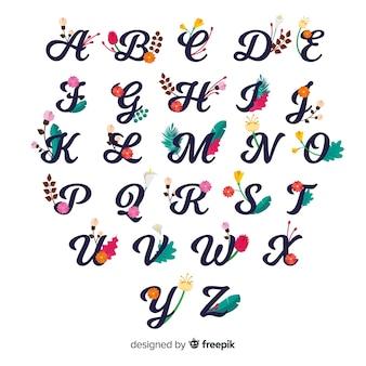Alfabeto floral simples
