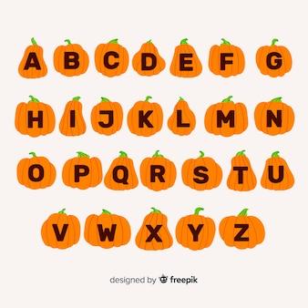 Alfabeto fofo de abóbora de halloween