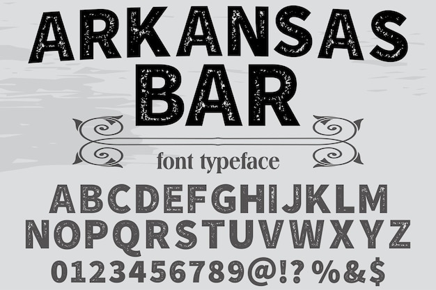 Alfabeto fonte design arkansas bar
