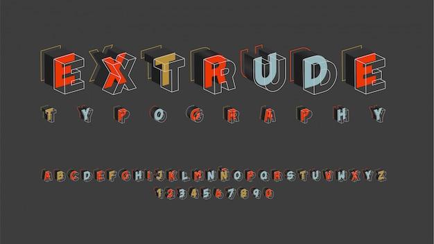 Alfabeto futurista com efeito dimensional