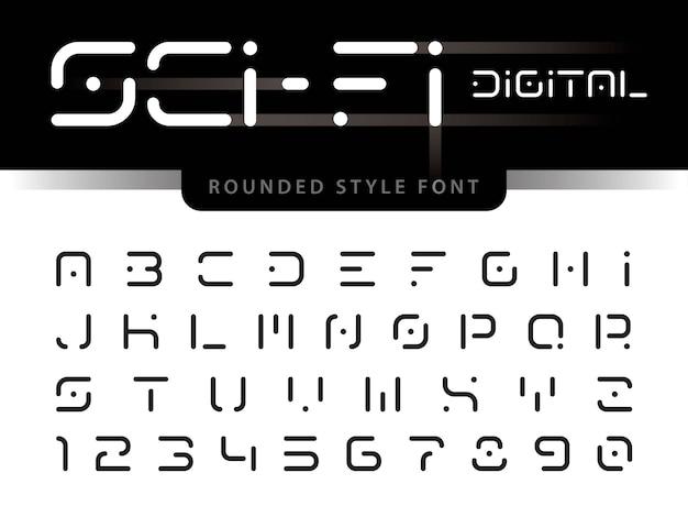Alfabeto futurista letras e números, tecnologia digital