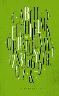 Alfabeto gótico fonte verde
