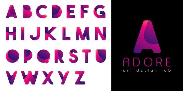 Alfabeto gradiente de néon