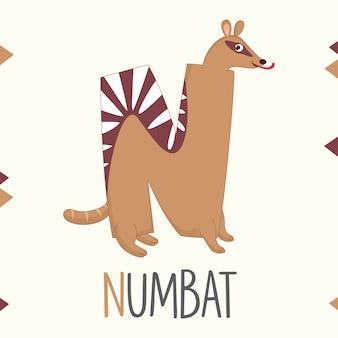Alfabeto ilustrado letra n e numbat