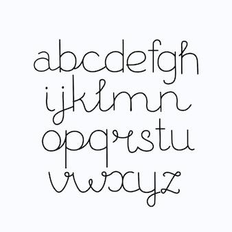 Alfabeto, impressão à mão, letras, números, símbolos, caligrafia, letras
