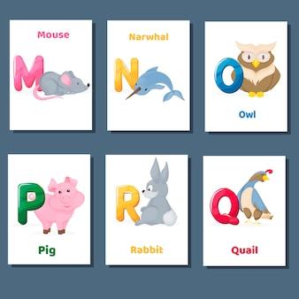 Alfabeto imprimível flashcards coleção de vetores com a letra mnopq r. animais do jardim zoológico para o ensino da língua inglesa.