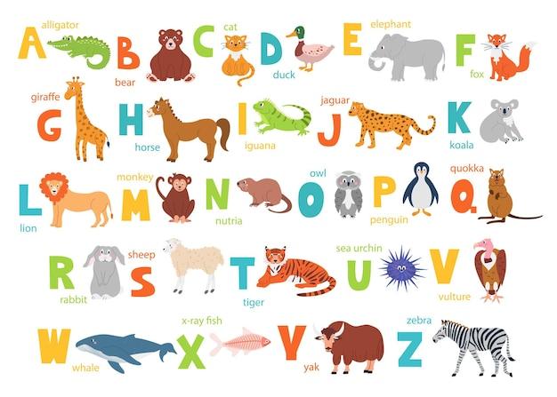 Alfabeto infantil brilhante com animais fofos para a educação e uma fonte manual