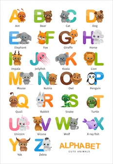 Alfabeto inglês de animais fofos