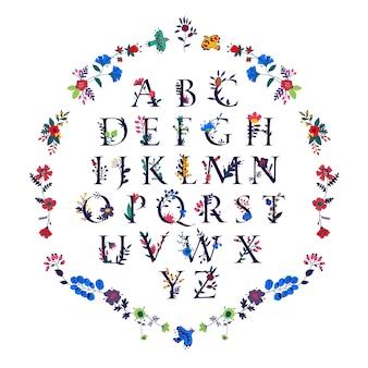 Alfabeto inglês em flores e plantas.