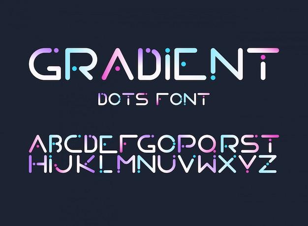 Alfabeto inglês gradiente letras plana vector conjunto