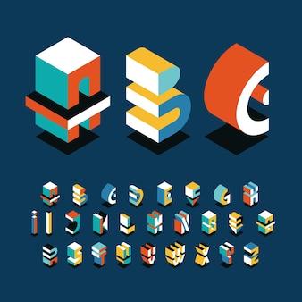 Alfabeto inglês isométrico, tipo decorativo gráfico de formas brilhantes.