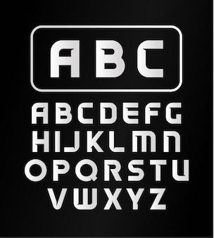 Alfabeto inglês, tipo de letra, fonte moderna, letras em negrito decorativas simples