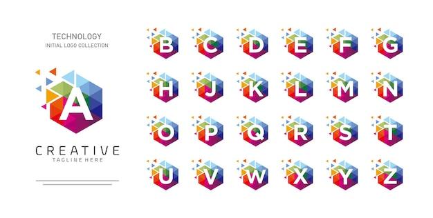 Alfabeto inicial colorido com coleção de design de logotipo de conceito de movimento hexágono e pixel