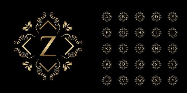 Alfabeto inicial da coleção com modelo de logotipo dourado de moldura floral de ornamento de luxo.