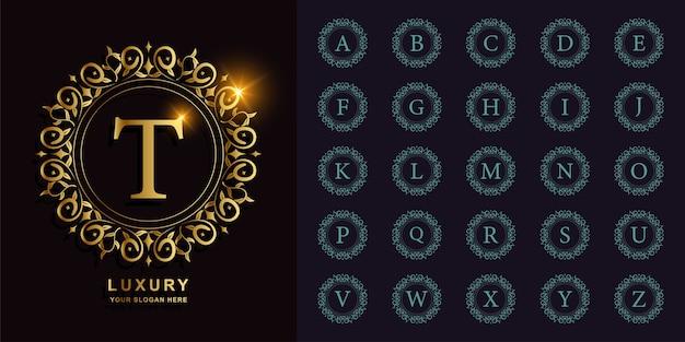 Alfabeto inicial da coleção com ornamento de luxo ou modelo de logotipo dourado de quadro de círculo floral.
