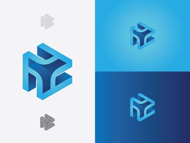 Alfabeto inicial h em letra minúscula incorporado no ícone do logotipo de vetor de cor azul