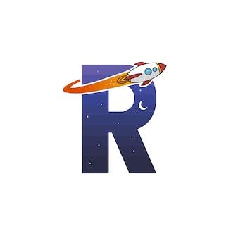 Alfabeto inicial logotipo sinal logotipo foguete espacial