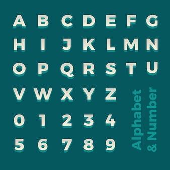 Alfabeto isométrico 3d e número