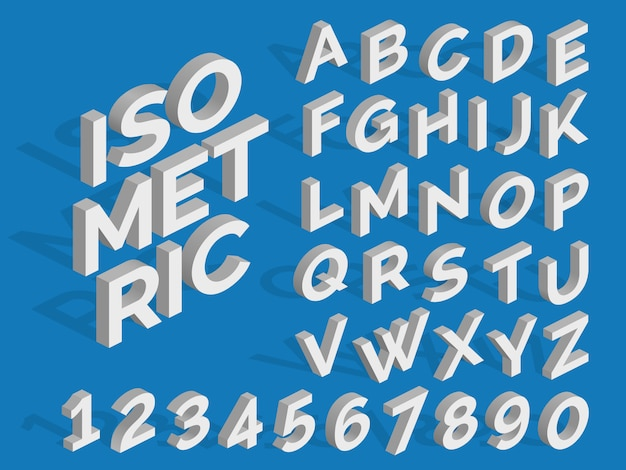 Alfabeto isométrico de vetor e números. fonte 3d funky