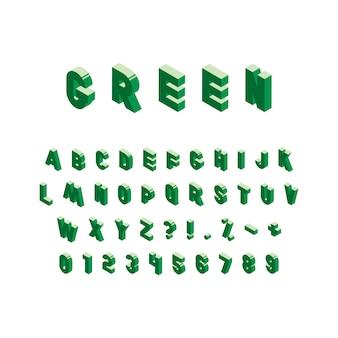 Alfabeto isométrico verde no branco. letras e números maiúsculos vintage na moda