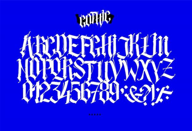 Alfabeto latino completo em estilo gótico.