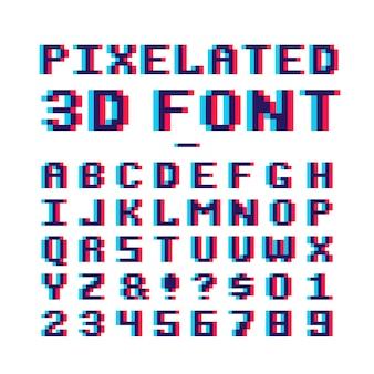 Alfabeto latino da velha escola da arte do pixel de 8 bits com efeito da distorção do anaglyph
