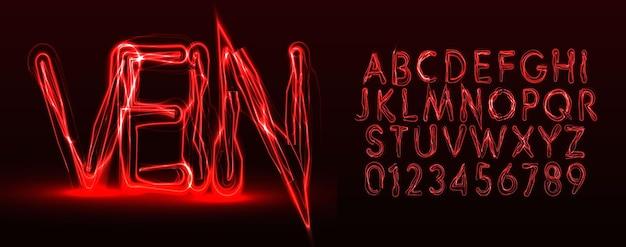 Alfabeto latino de vetor de estilo de veias vermelhas. conjunto de letras e números de halloween. fonte terrível para eventos, promoções, logotipos, banner, monograma e pôster. design de tipografia.
