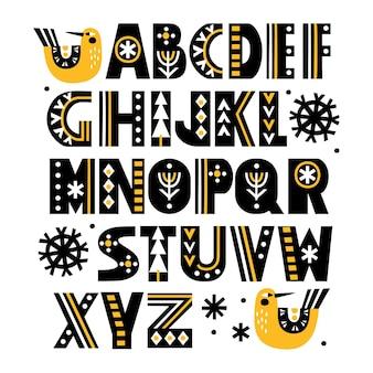 Alfabeto latino desenhado à mão em estilo escandinavo com letras ornamentadas