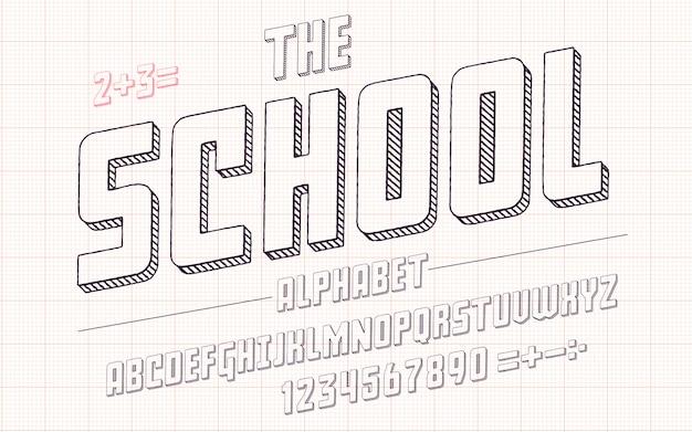 Alfabeto latino - fonte da escola no estilo 3d bonito do esboço.
