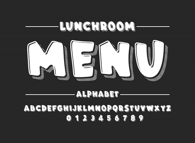 Alfabeto latino. fonte em negrito no estilo 3d bonito branco dos desenhos animados