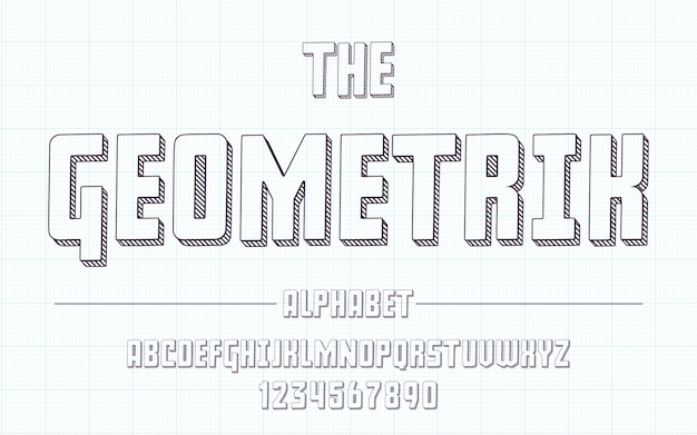 Alfabeto latino - fonte geométrica no estilo 3d bonito esboço.