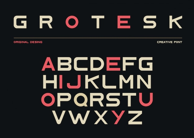 Alfabeto latino, fonte sem serifa em estilo grotesk