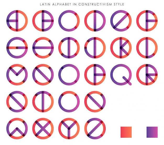 Alfabeto latino no estilo do construtivismo para a tipografia da moda