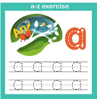Alfabeto letra a-formiga exercício, papel cortado conceito ilustração em vetor