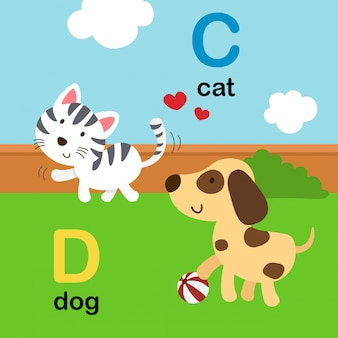 Alfabeto letra c para gato, d para cachorro, ilustração
