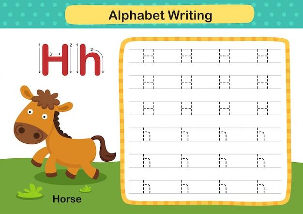 Alfabeto letra h-cavalo exercício com ilustração de vocabulário dos desenhos animados
