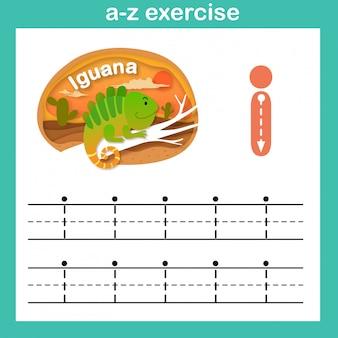 Alfabeto letra i-iguana exercício, ilustração em vetor papel conceito cortado