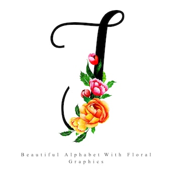 Alfabeto letra t aquarela floral background